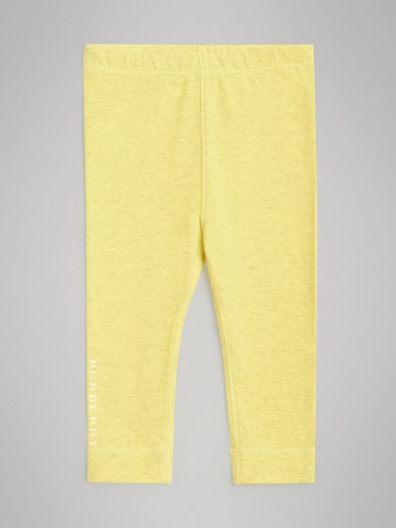 Logo Print Stretch Jersey Leggings in Citrus Yellow