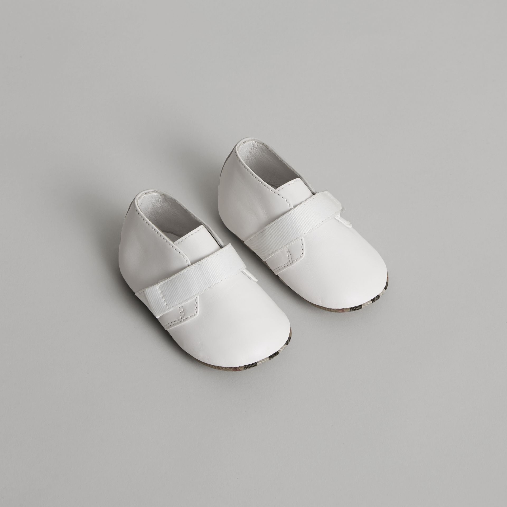 Leather and Vintage Check Shoes in Optic White - Children | Burberry - gallery image 0