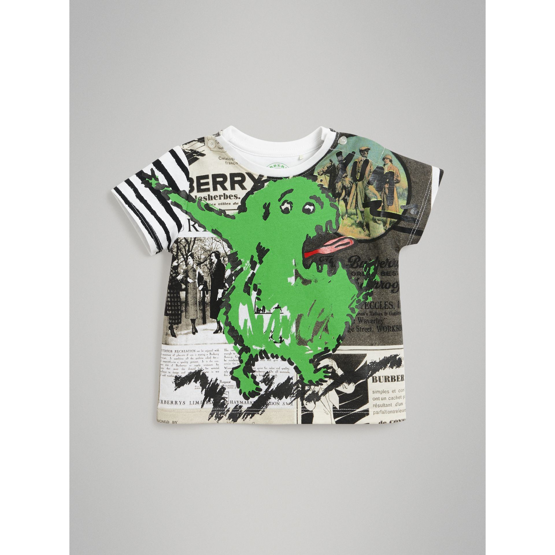 Monster Print Cotton T-shirt in White - Children | Burberry - gallery image 0