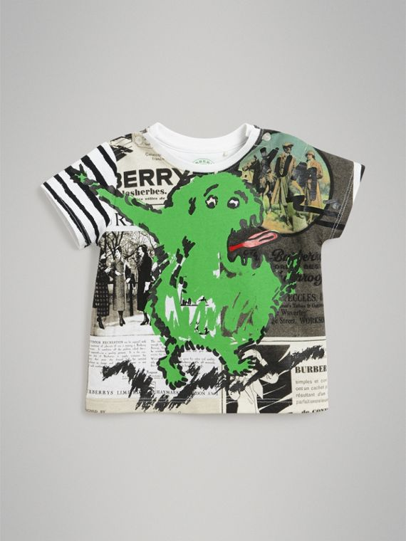 Monster Print Cotton T-shirt in White