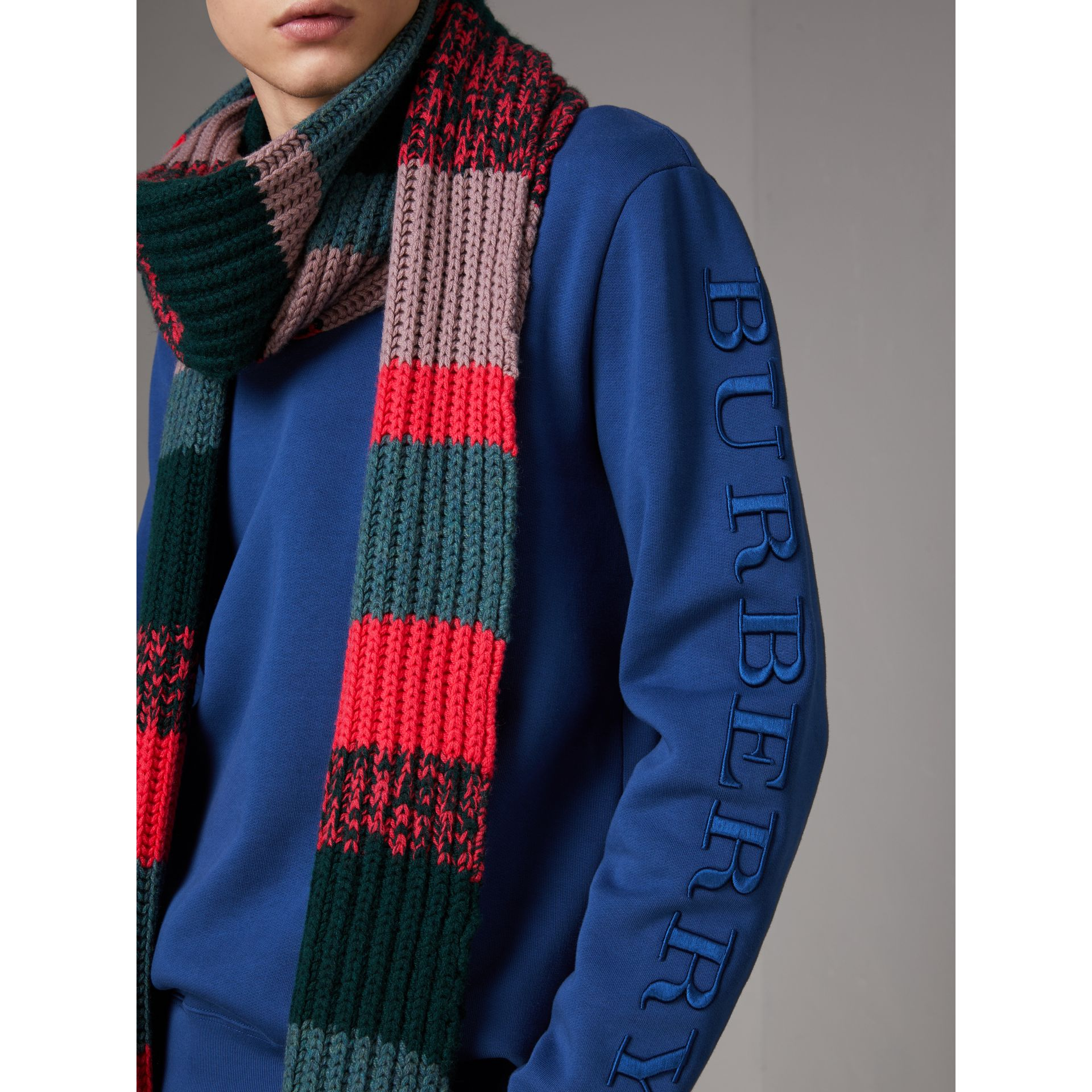 Cotton Jersey Sweatshirt in Bright Blue - Men | Burberry - gallery image 1