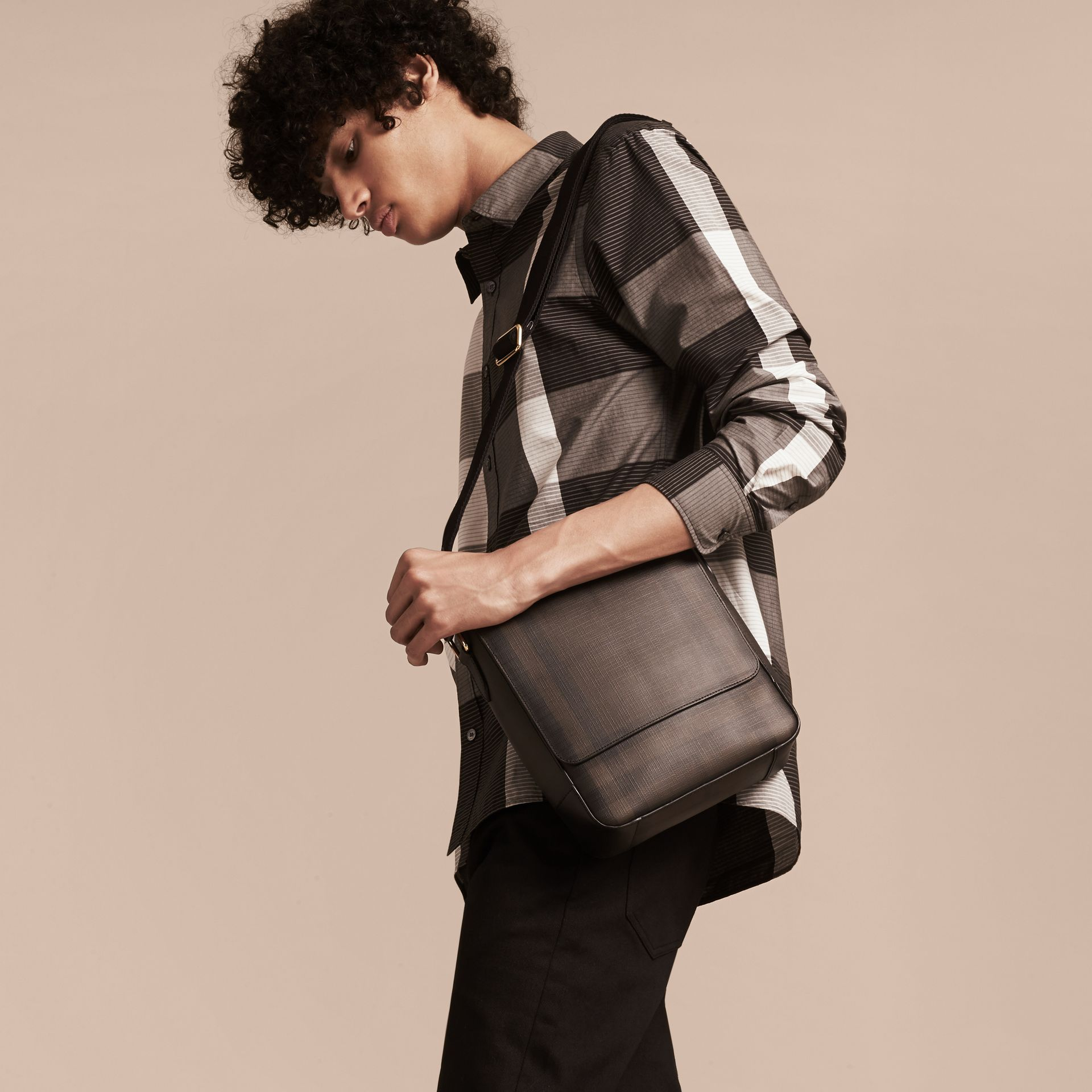 London Check Crossbody Bag in Chocolate/black - Men | Burberry Singapore - gallery image 3