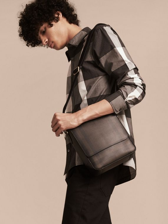 London Check Crossbody Bag in Chocolate/black - Men | Burberry Singapore - cell image 2