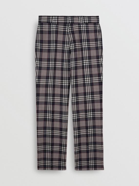 Pantalon de costume slim en laine, mohair et soie à motif check (Bleu Encre)