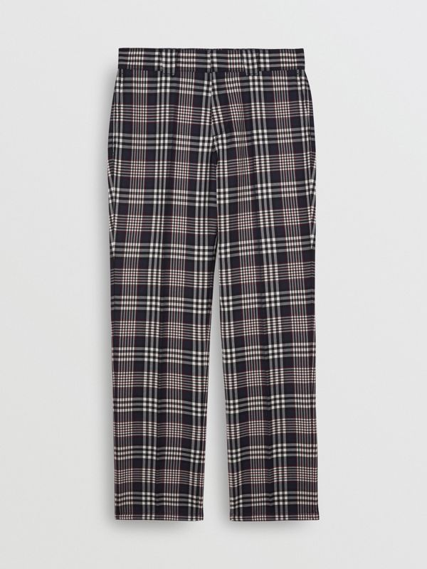 Slim Fit Check Wool Mohair Silk Tailored Trousers in Ink Blue - Men | Burberry - cell image 3