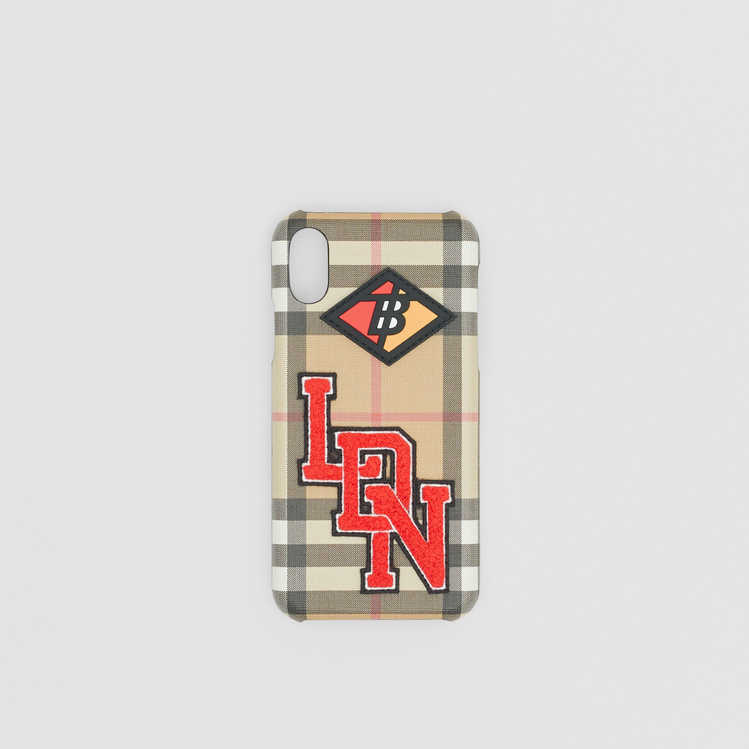 Logo Graphic Vintage Check iPhone X/XS Case in Archive Beige | Burberry Singapore - 1