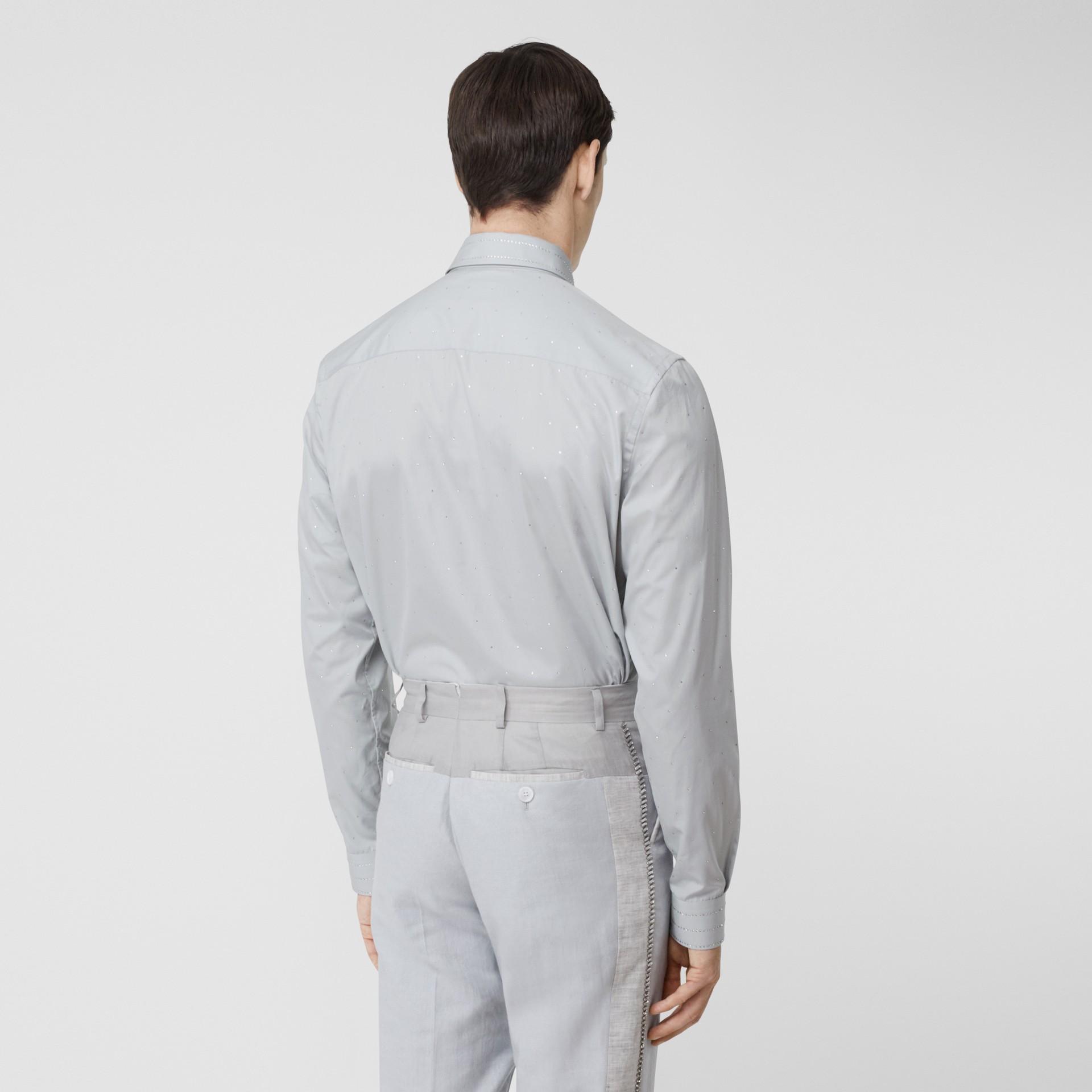 Detachable Collar Crystal Detail Cotton Poplin Shirt in Light Pebble Grey | Burberry Australia - gallery image 2