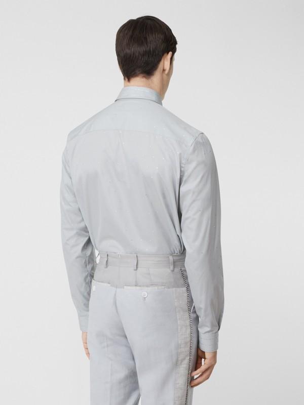 Detachable Collar Crystal Detail Cotton Poplin Shirt in Light Pebble Grey | Burberry Australia - cell image 2