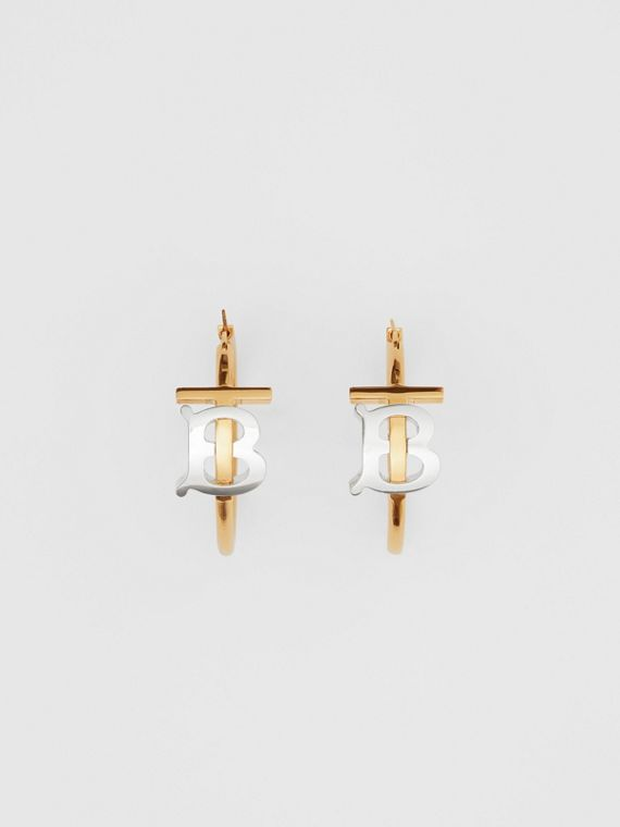 Gold and Palladium-plated Monogram Motif Earrings in Light Gold/palladium