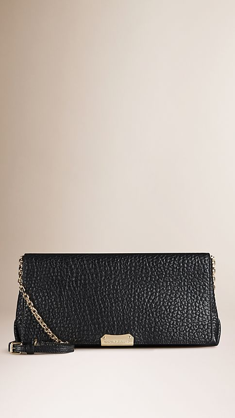 Black Medium Signature Grain Leather Clutch Bag - Image 1