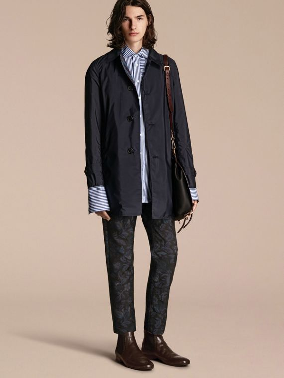 Navy Cappotto double face con stampa a righe pigiama - cell image 2