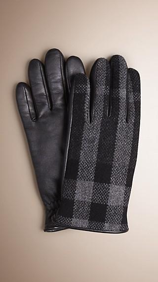 Gants pour écran tactile en cuir et laine à motif check