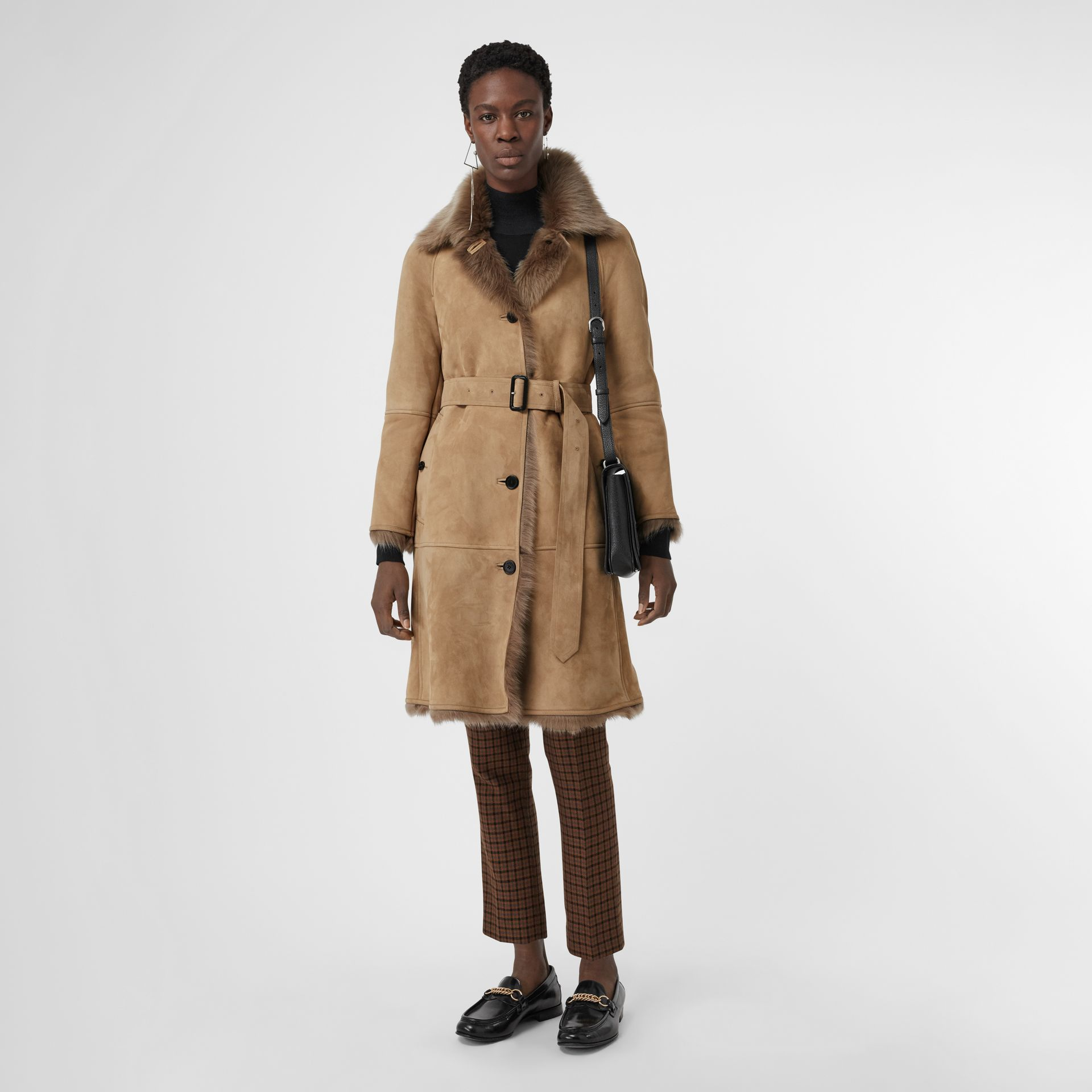 Shearling Car Coat in Camel - Women | Burberry - gallery image 0