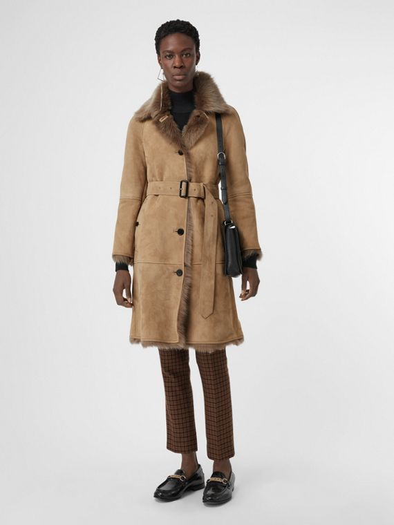 Shearling Car Coat in Camel