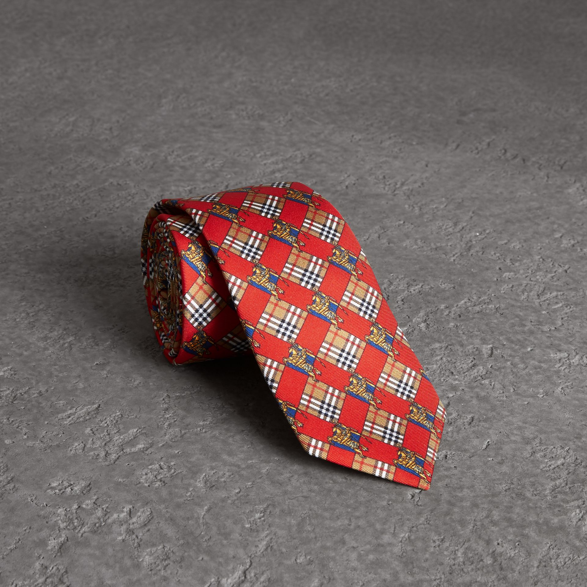 Modern Cut Check and Equestrian Knight Silk Tie in Bright Red - Men | Burberry - gallery image 0