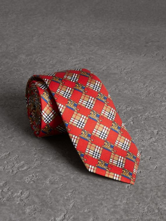 Modern Cut Check and Equestrian Knight Silk Tie in Bright Red