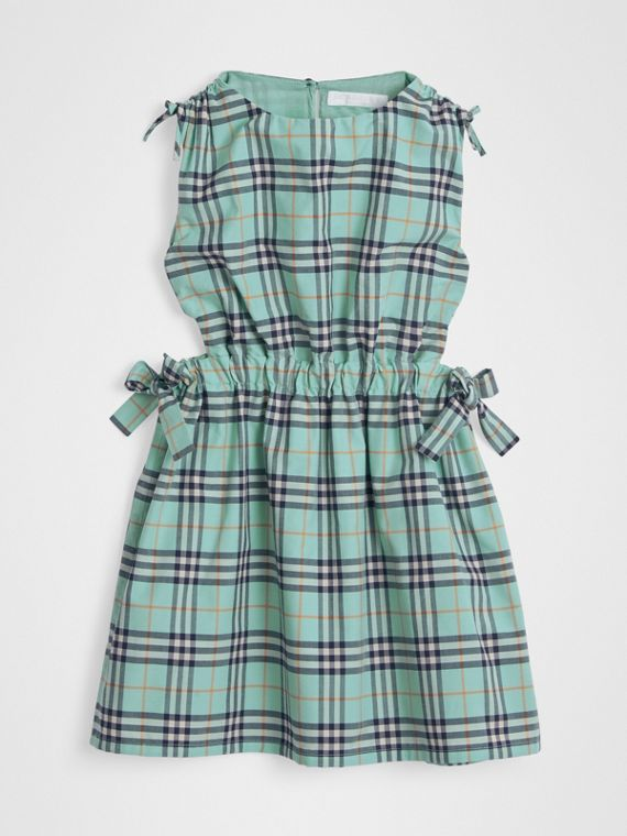 Tie Detail Check Cotton Dress in Bright Aqua