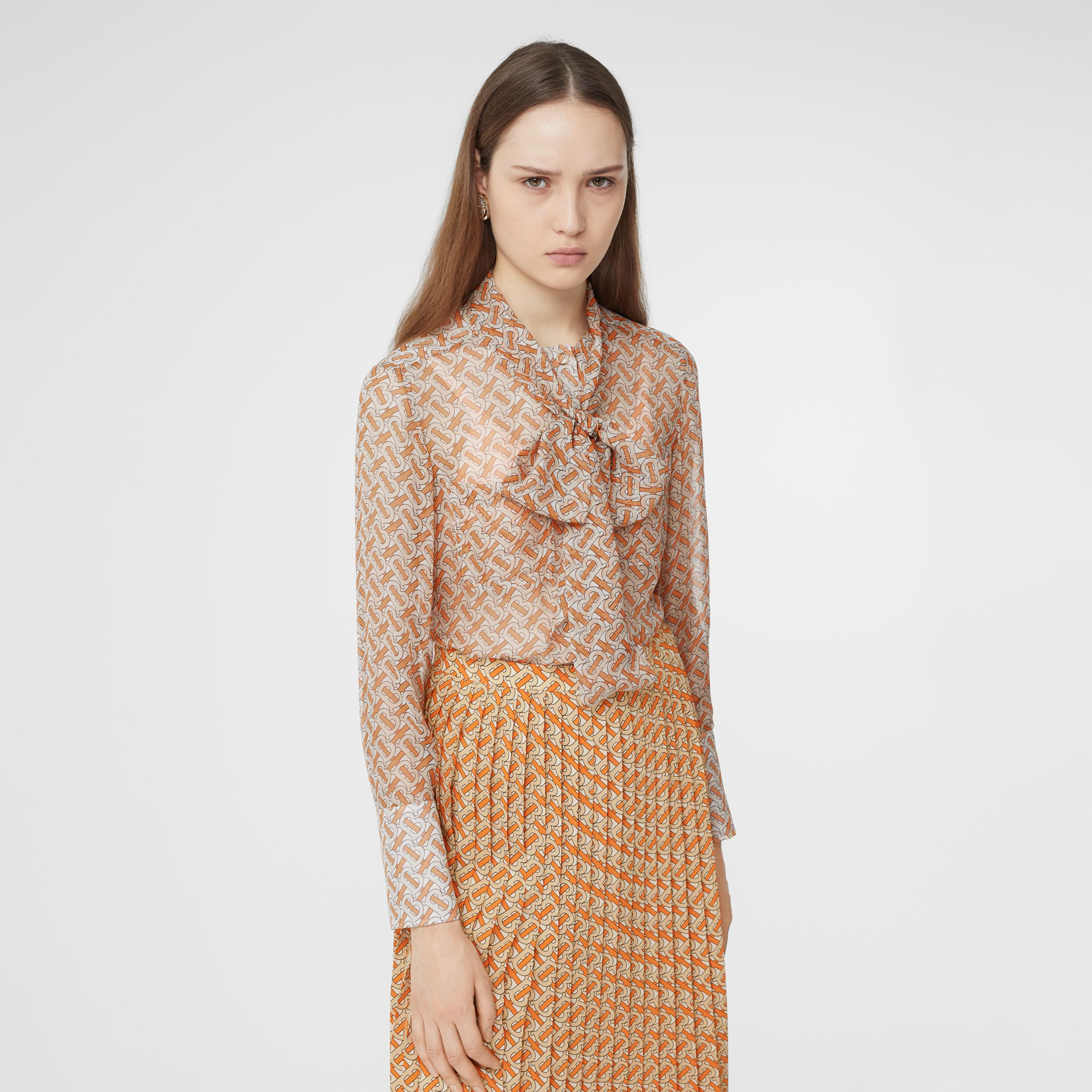 Monogram Print Silk Chiffon Pussy-bow Blouse in Bright Orange - Women | Burberry - 1