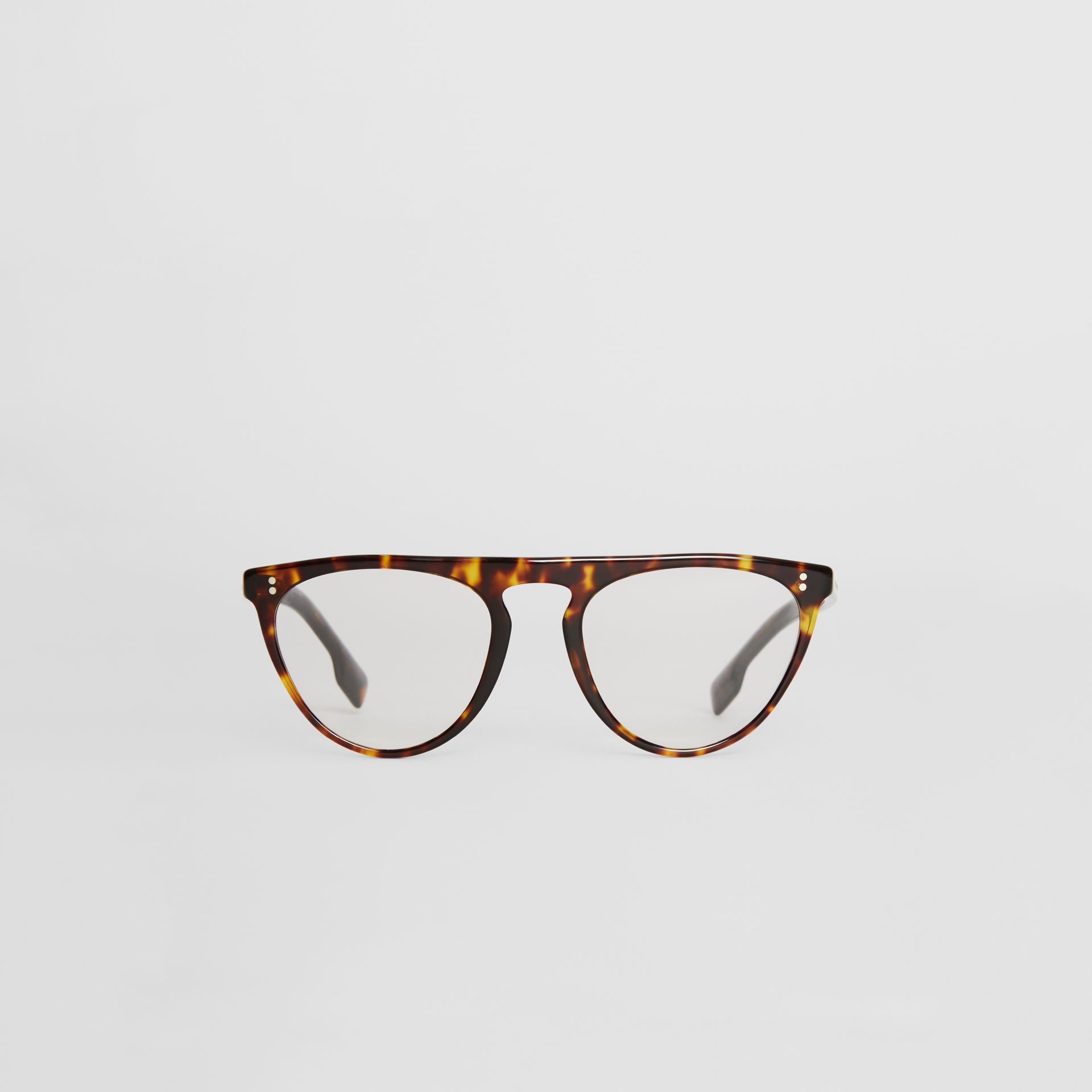 Keyhole D-shaped Optical Frames in Tortoise Shell - Men | Burberry United Kingdom - gallery image 0
