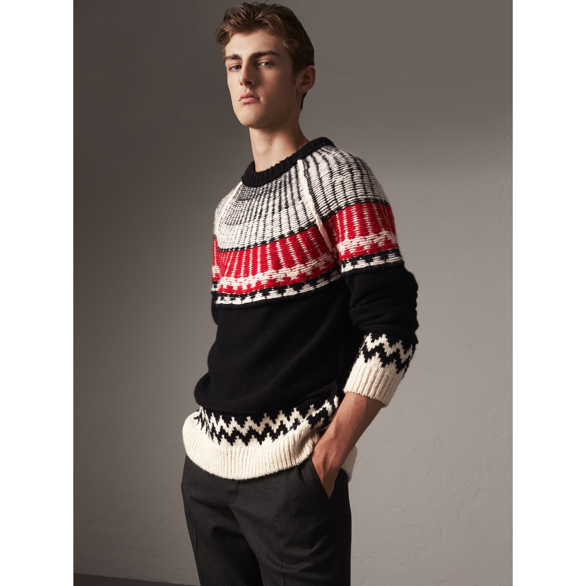 Fair Isle Wool Cashmere Sweater in Black/ Military Red - Men | Burberry - gallery image 4