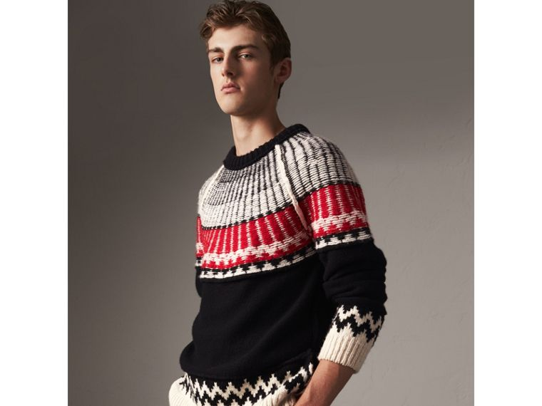 Fair Isle Wool Cashmere Sweater in Black/ Military Red - Men | Burberry - cell image 4