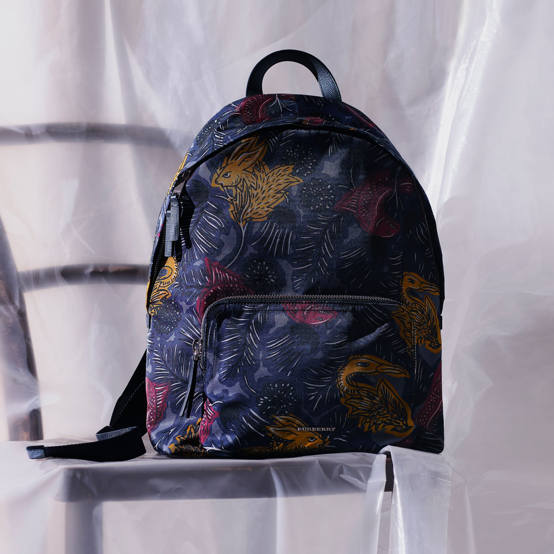 Leather Trim Beasts Print Backpack in Navy Grey - Men | Burberry - gallery image 8