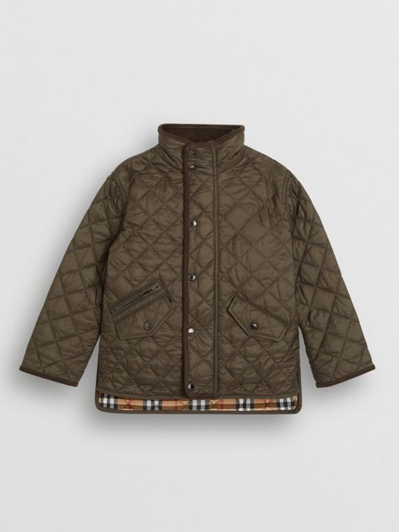 Lightweight Diamond Quilted Jacket in Olive