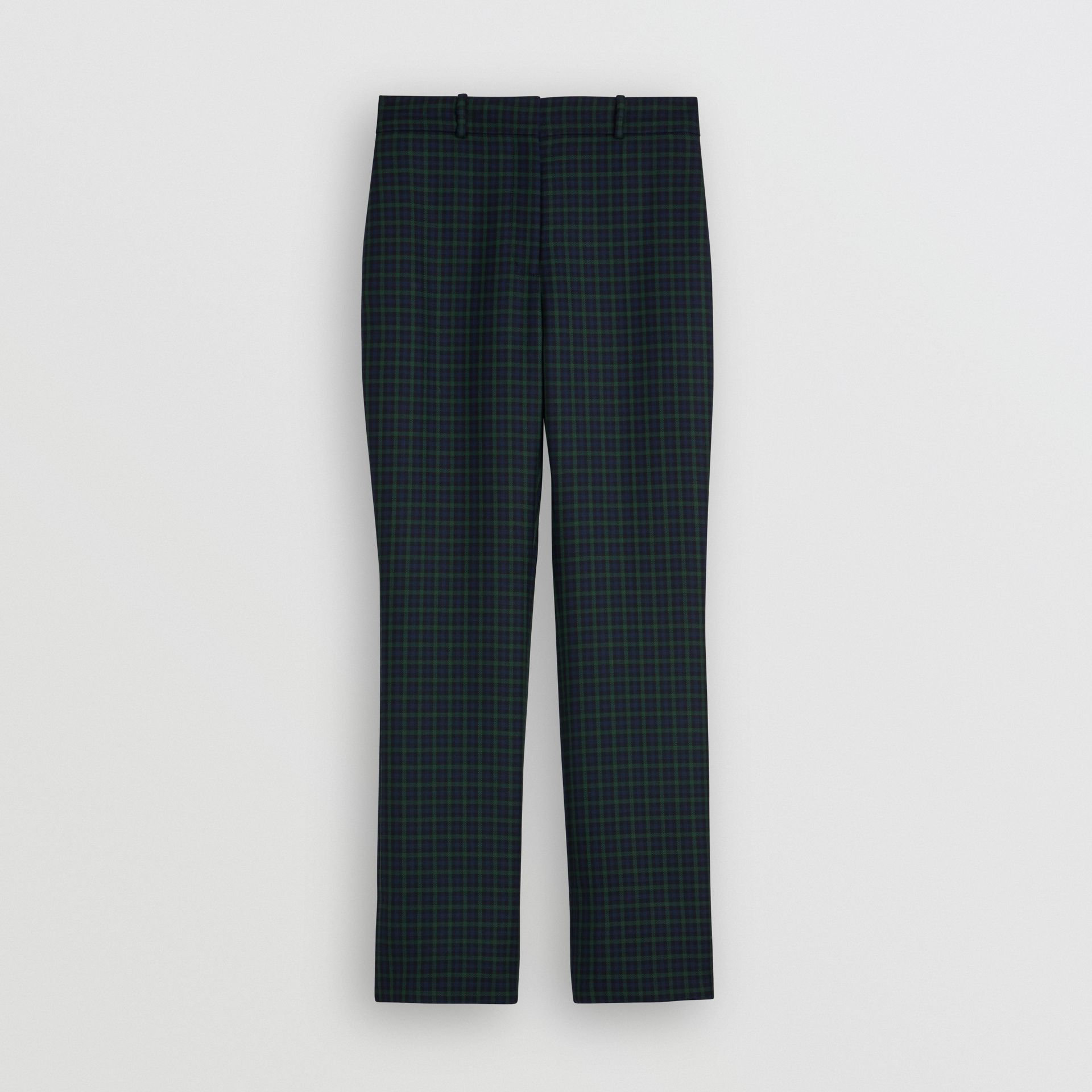 Straight Fit Check Wool Blend Tailored Trousers in Navy - Women | Burberry - gallery image 3