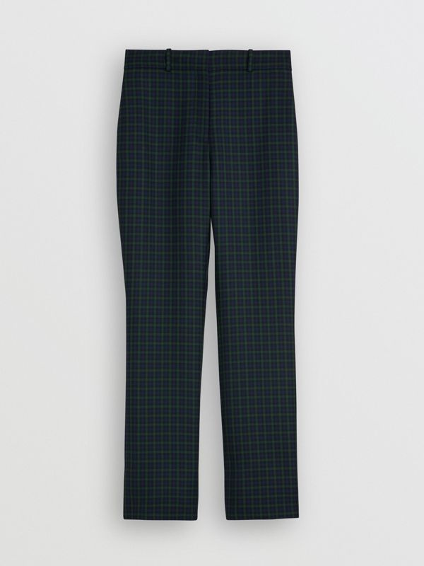 Straight Fit Check Wool Blend Tailored Trousers in Navy - Women | Burberry - cell image 3
