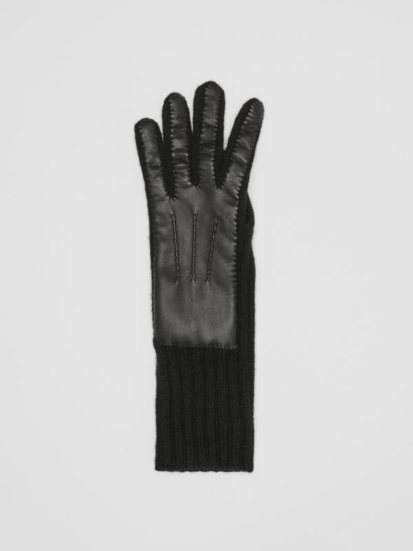 Cashmere and Lambskin Gloves in Black - Women | Burberry Australia - cell image 2