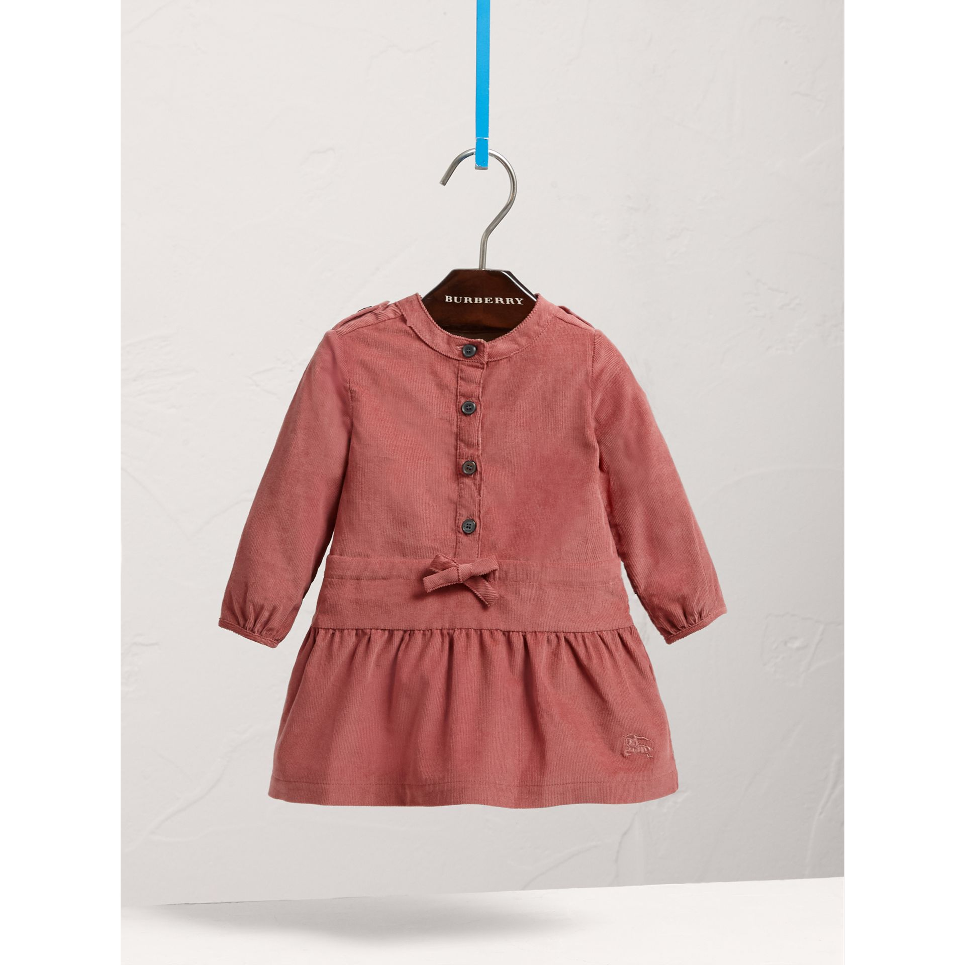 Gathered Tie-waist Cotton Corduroy Dress in Rosewood | Burberry - gallery image 2