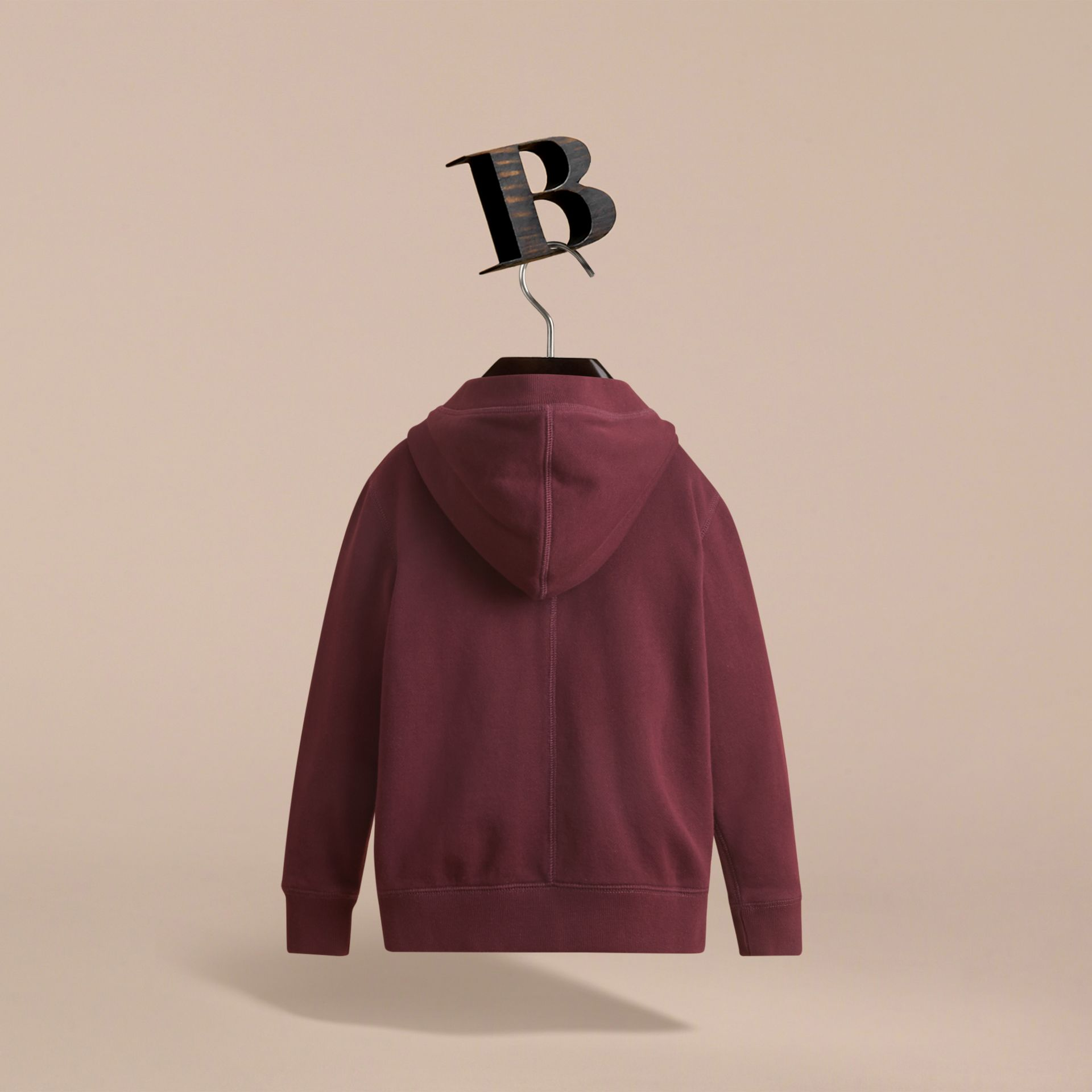 Hooded Cotton Top in Burgundy - Boy | Burberry United Kingdom - gallery image 3