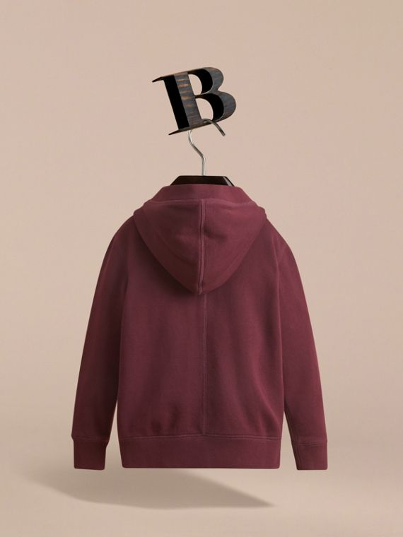 Hooded Cotton Top in Burgundy - Boy | Burberry United Kingdom - cell image 3