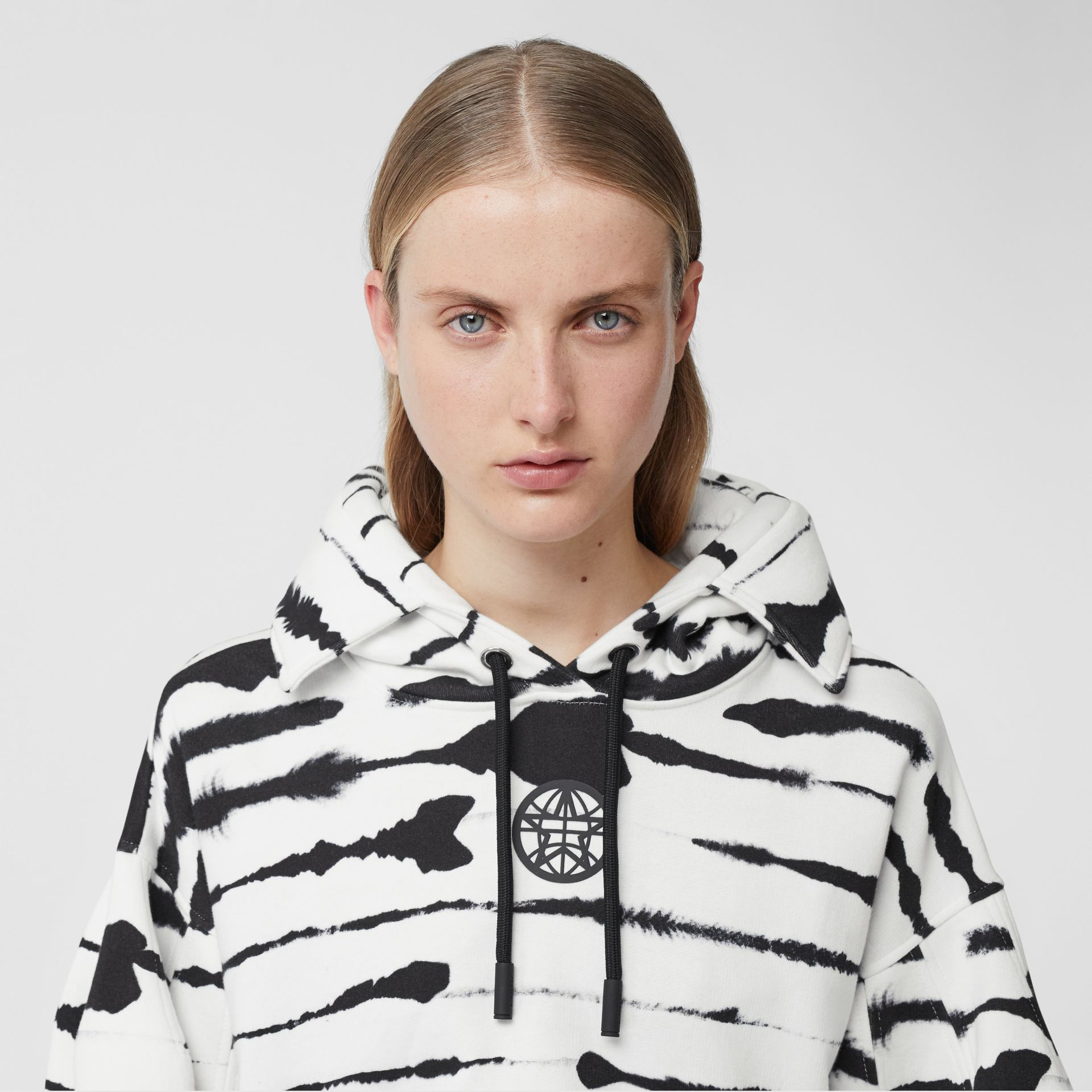 Cut-out Detail Watercolour Print Cotton Hoodie in White/black - Women | Burberry - gallery image 1