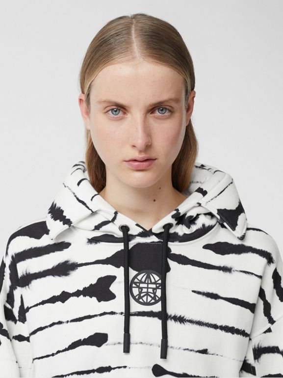 Cut-out Detail Watercolour Print Cotton Hoodie in White/black - Women | Burberry - cell image 1