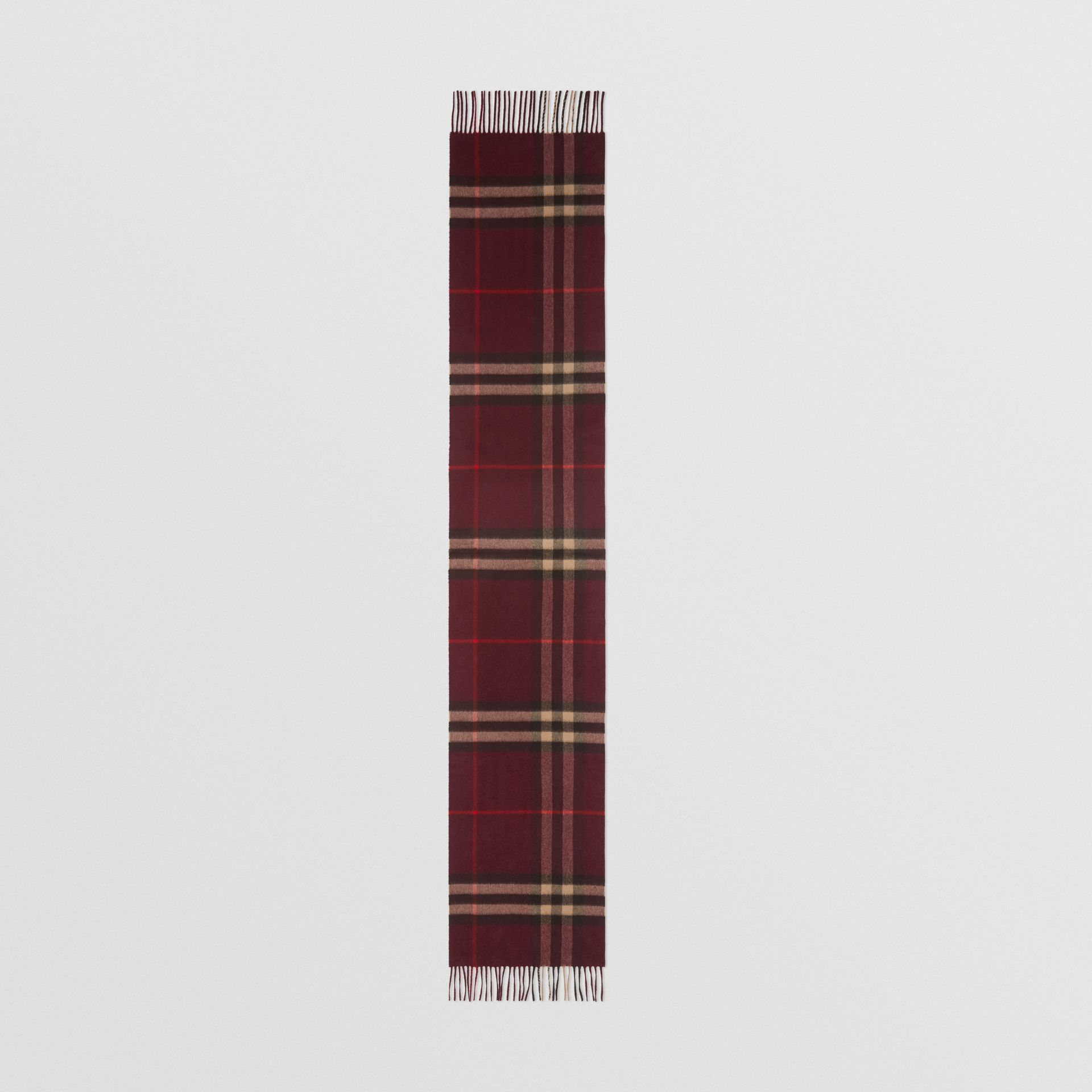 The Classic Check Cashmere Scarf in Burgundy | Burberry United Kingdom - gallery image 5