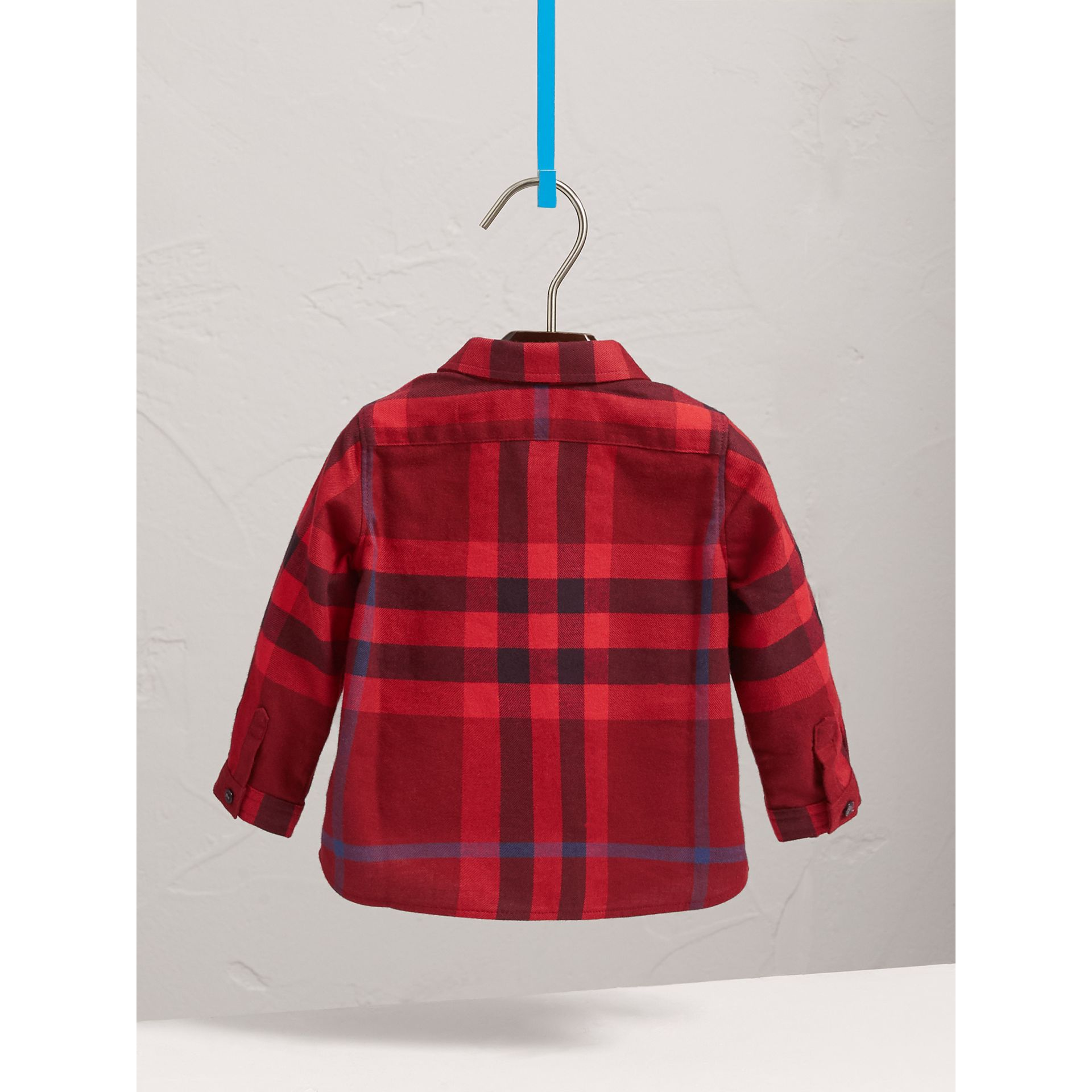 Check Cotton Flannel Shirt in Parade Red - Boy | Burberry - gallery image 3