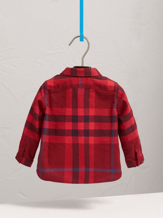 Check Cotton Flannel Shirt in Parade Red - Boy | Burberry - cell image 3