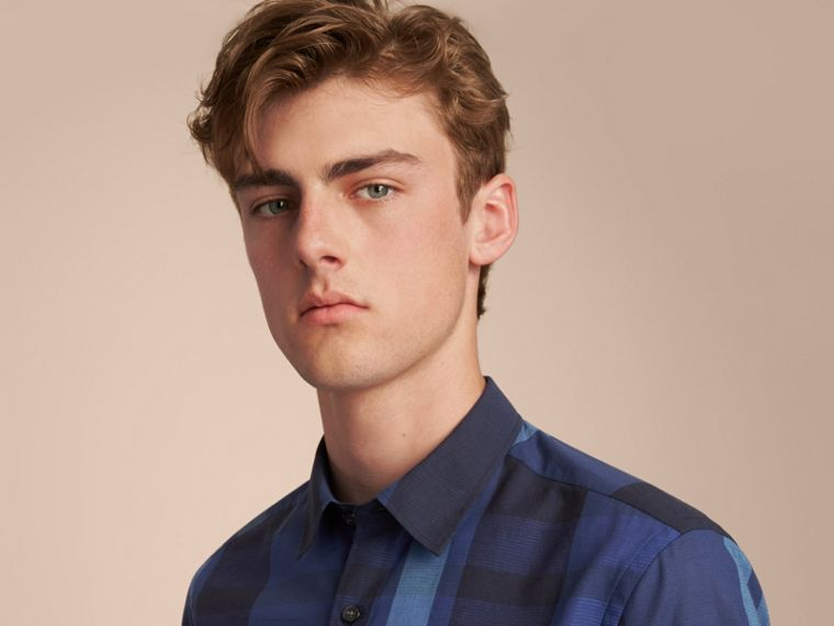 Check Cotton Linen Shirt in Bright Navy - Men | Burberry Canada - cell image 4