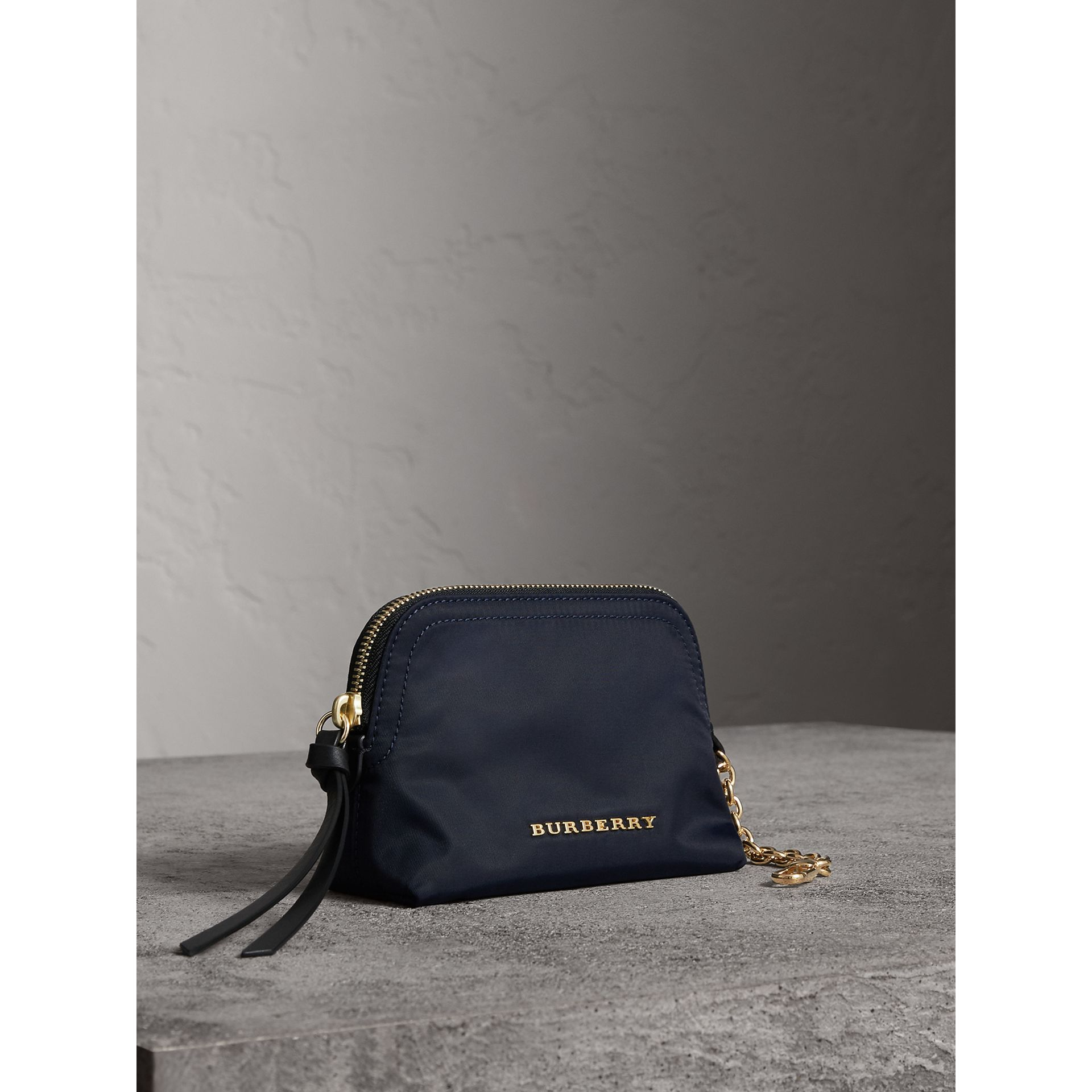 Small Zip-top Technical Nylon Pouch in Ink Blue - Women | Burberry - gallery image 6