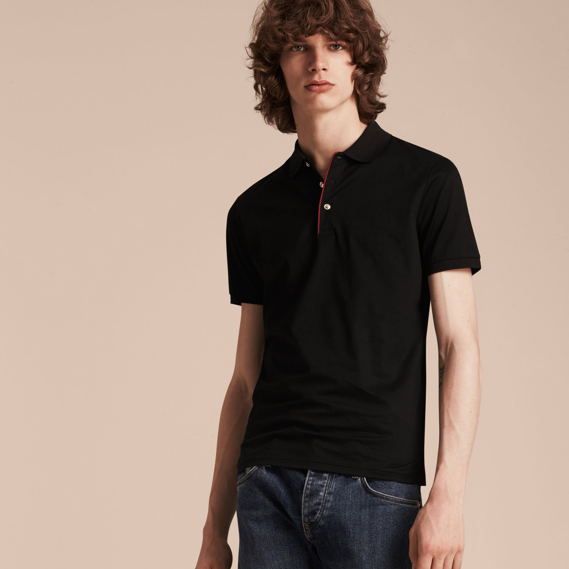 Black Polo militaire en coton Black - photo de la galerie 6