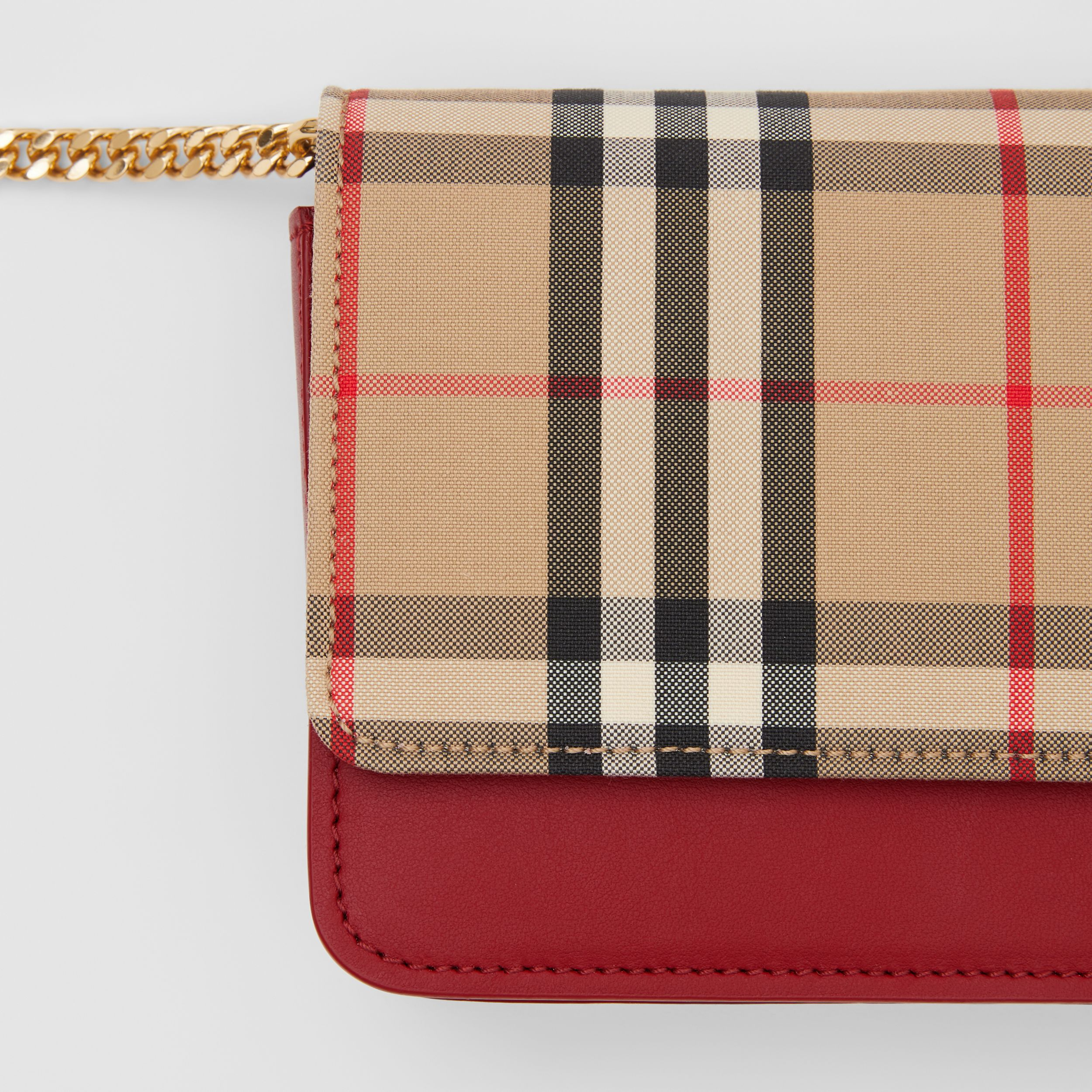 Vintage Check Canvas and Leather Bag in Parade Red - Women | Burberry - 2