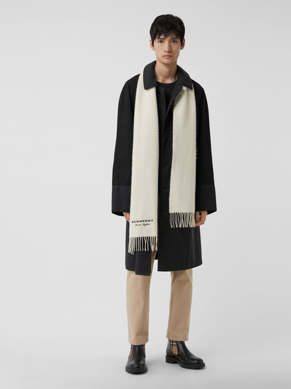 Embroidered Cashmere Fleece Scarf in Ivory | Burberry - cell image 3