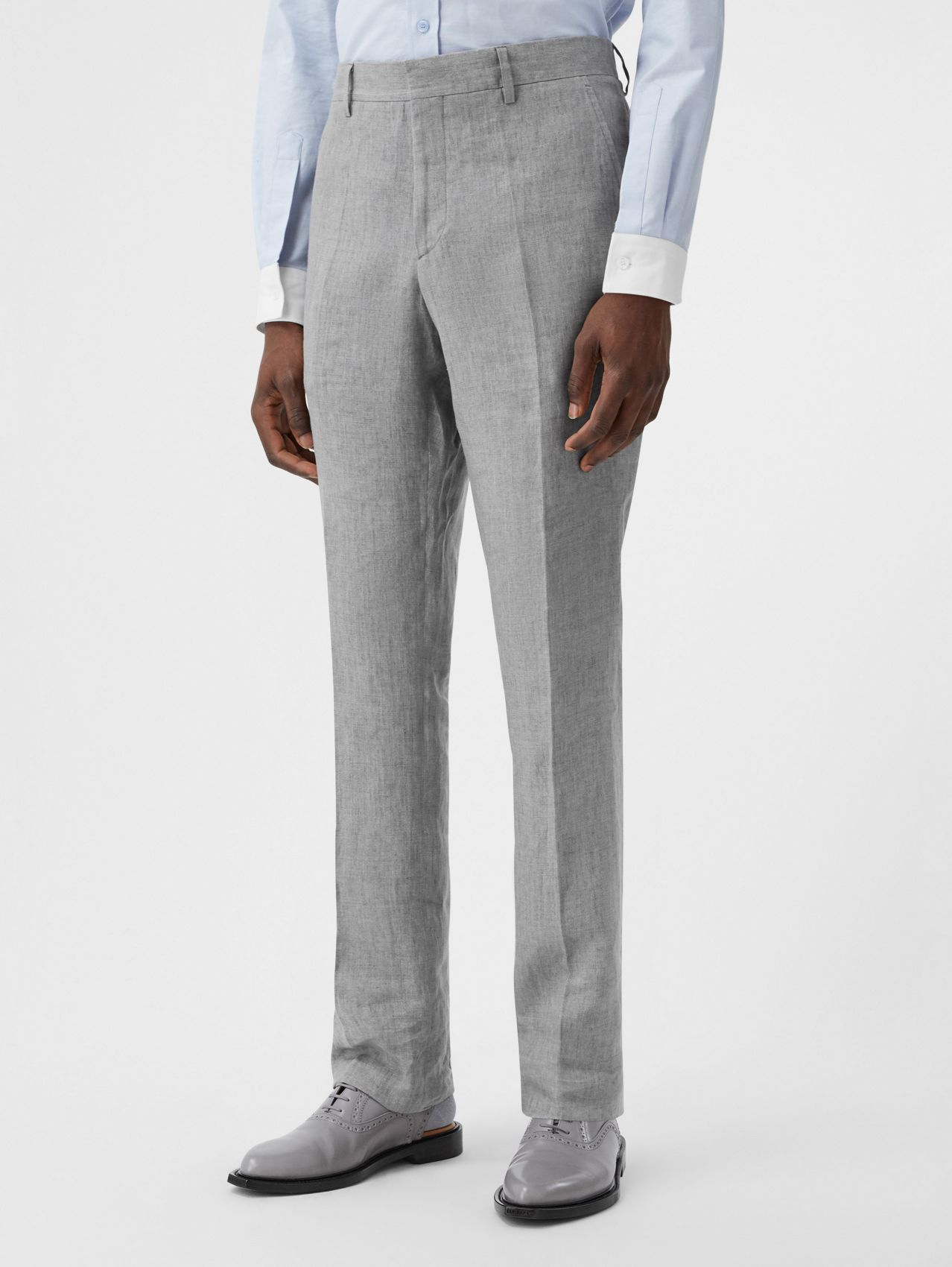 Classic Fit Linen Tailored Trousers in Heather Melange