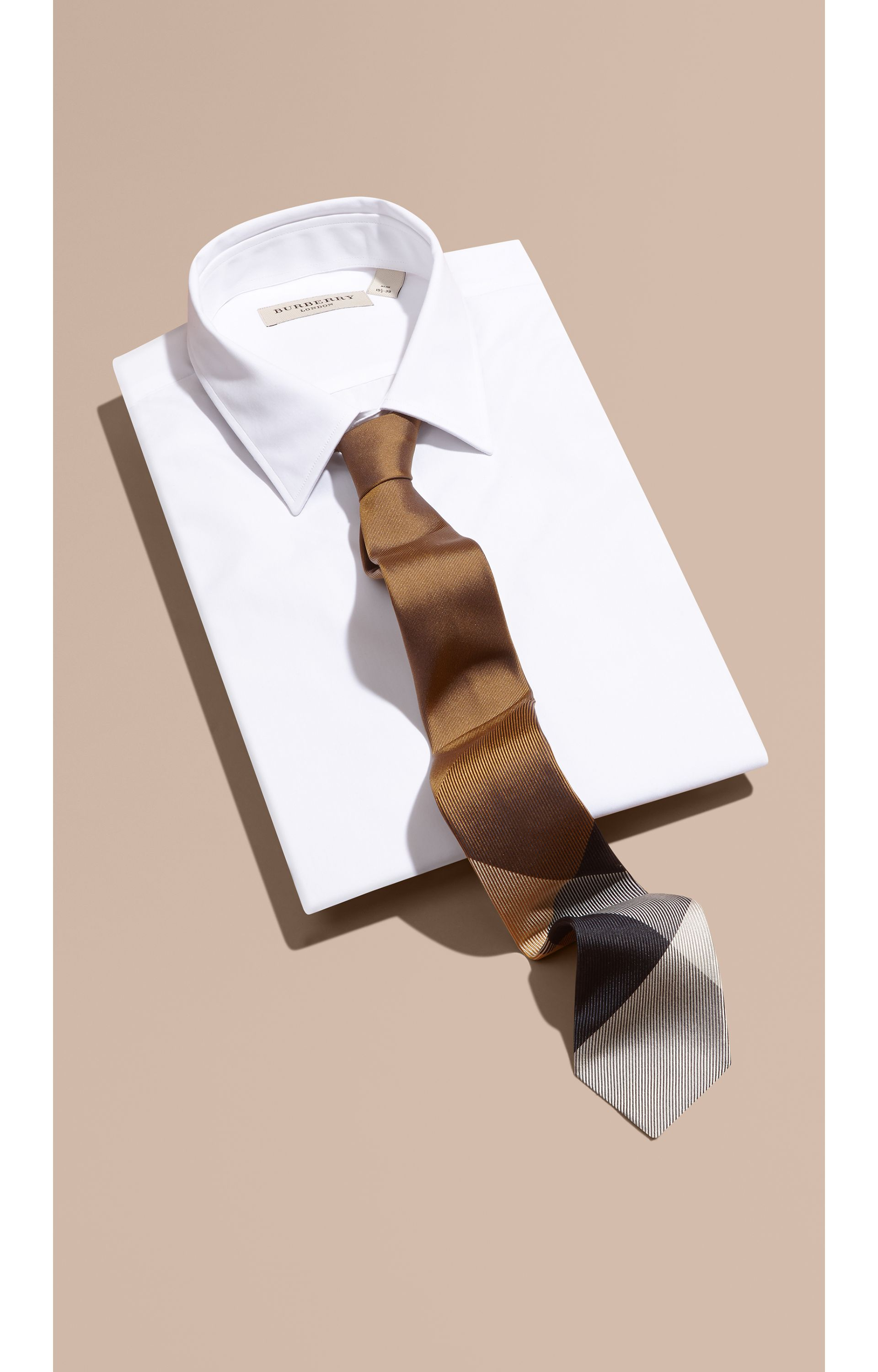 Ochre brown Modern Cut Check Jacquard Silk Tie Ochre Brown - gallery image 1