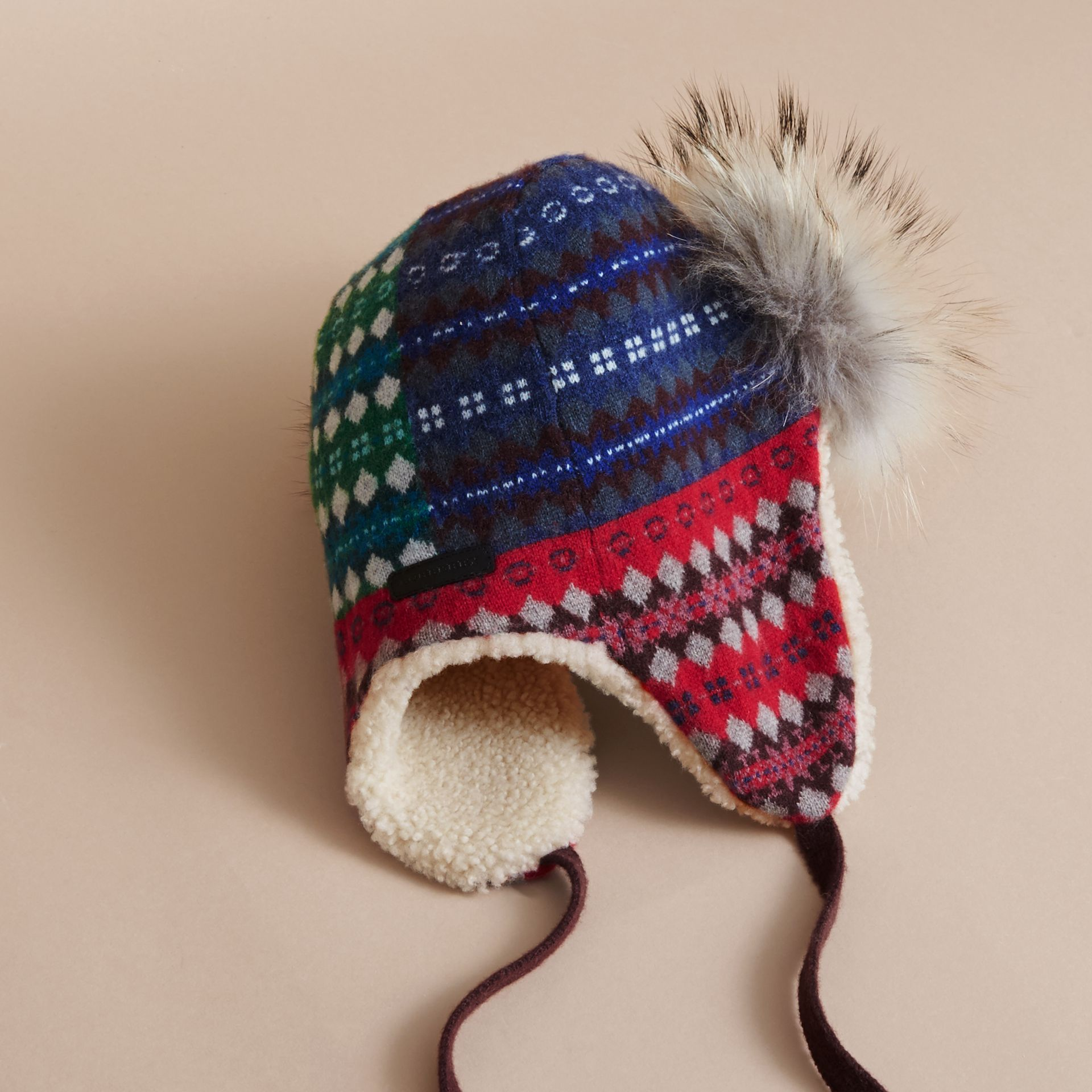 Fair Isle Wool Cashmere Trapper Hat in Rosewood | Burberry United States - gallery image 2