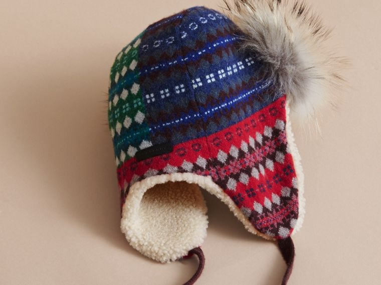 Fair Isle Wool Cashmere Trapper Hat in Rosewood | Burberry United States - cell image 2