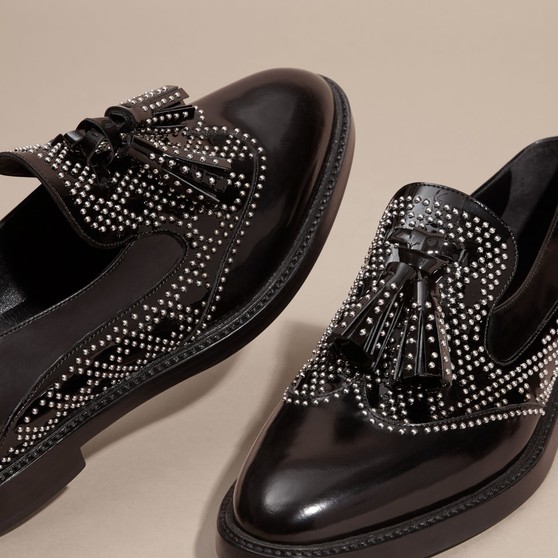 Black Studded Leather Tassel Loafers - gallery image 2