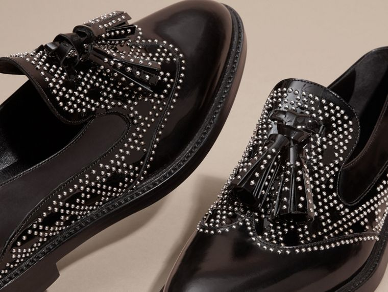 Black Studded Leather Tassel Loafers - cell image 1