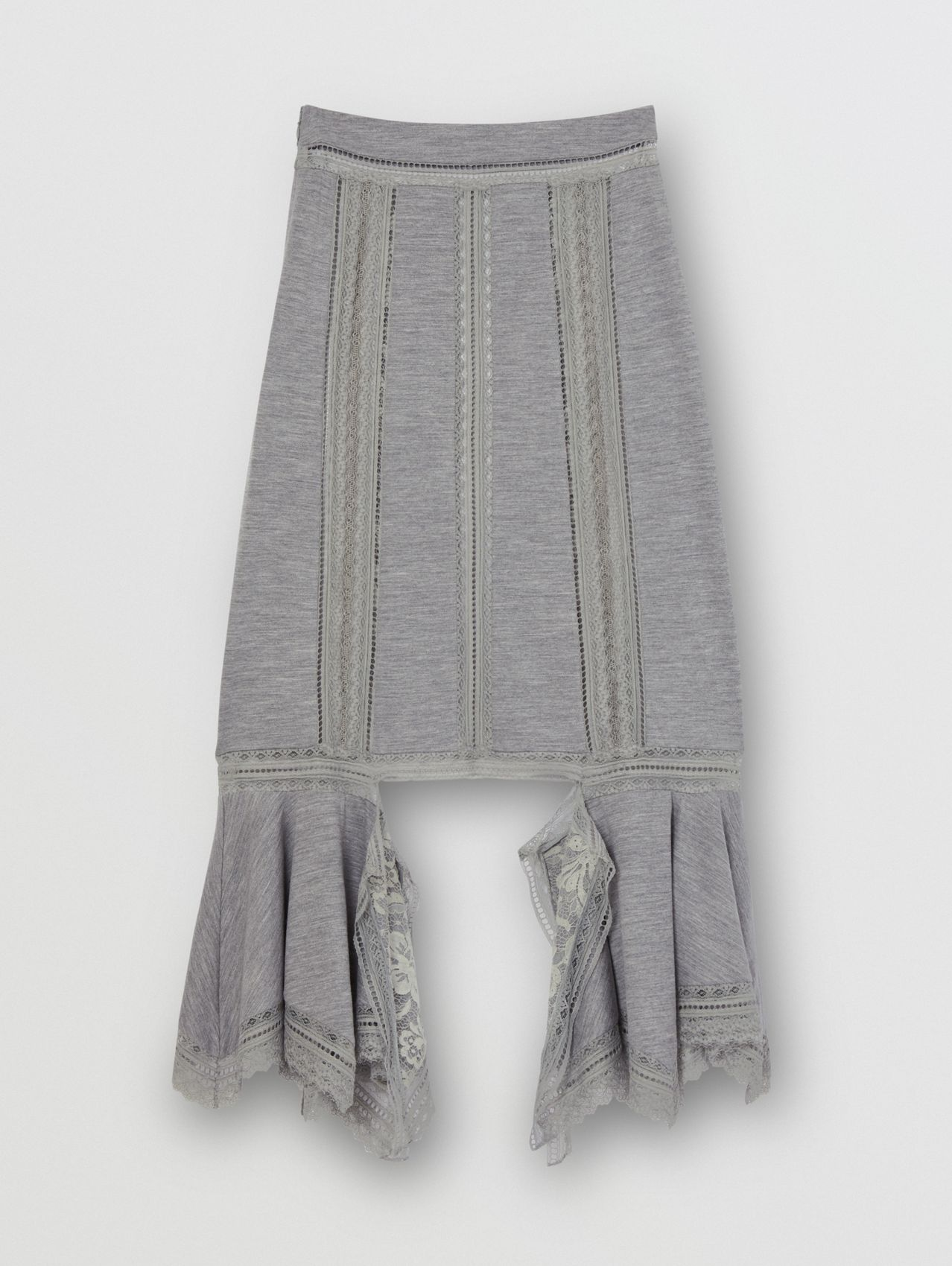 Chantilly Lace and Wool Jersey Skirt in Cloud Grey